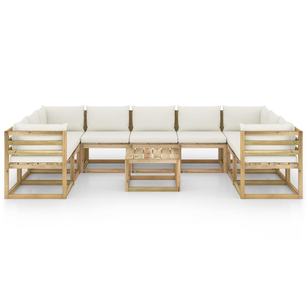 vidaXL 10-delige Loungeset met kussens geïmpregneerd grenenhout