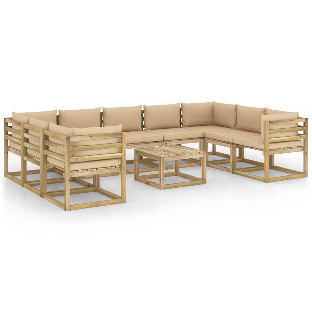 10-tlg. Garten-Lounge-Set mit Kissen Imprägniertes Holz