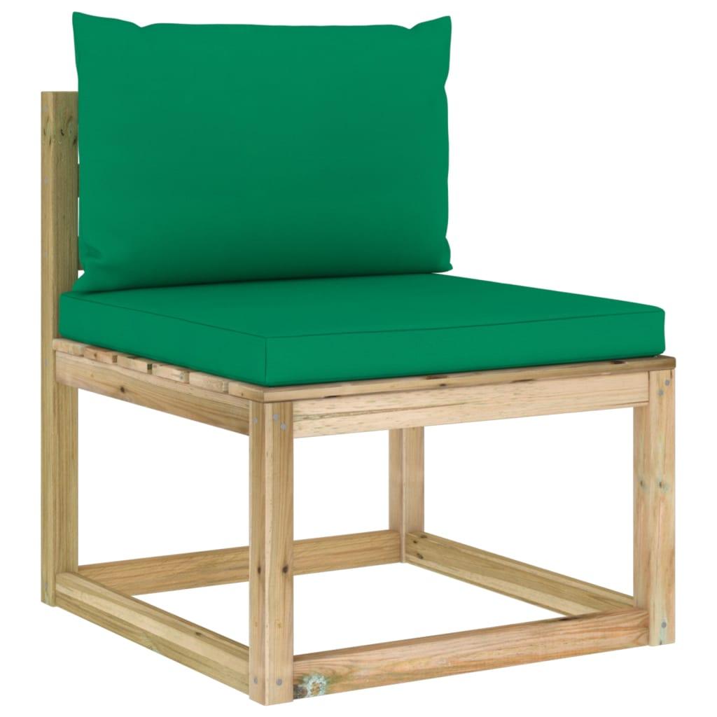 <ul><li>Polster-Farbe: Grün</li><li>Material: Kiefernholz, grün imprägniert</li><li>Kissen-Material: Stoff (100% Polyester)</li><li>Abmessungen: 60 x 64 x 70 cm (B x T x H)</li><li>Sitzgröße: 60 x 60 cm</li><li>Sitzhöhe vom Boden: 36 cm</li><li>Sitzpolster-Maße: 60 x 60 x 6 cm (B x T x H)</li><li>Rückenpolster-Maße: 60 x 38 x 13 cm (B x T x H)</li><li>Montage erforderlich: Ja</li><li><strong>Lieferung enthält:</strong></li><li>1 x Sofa-Mittelteil</li><li>1 x Sitzpolster</li><li>1 x Rückenkissen</li></ul>