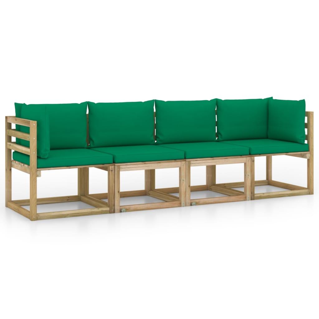 vidaXL Tuinbank 4-zits met groene kussens