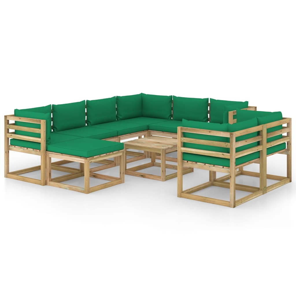 10-tlg. Garten-Lounge-Set mit Kissen Imprägniertes Kiefernholz