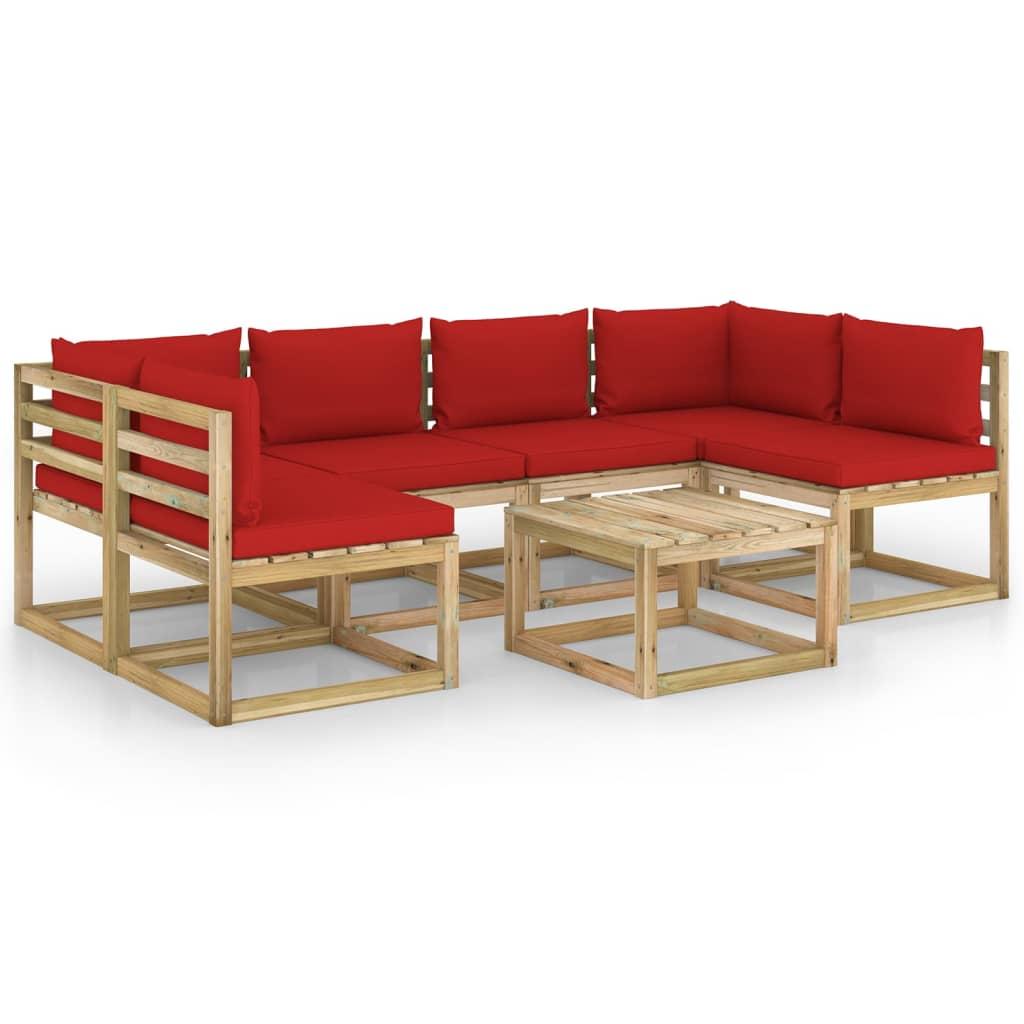 7-delige Loungeset met kussens geïmpregneerd grenenhout