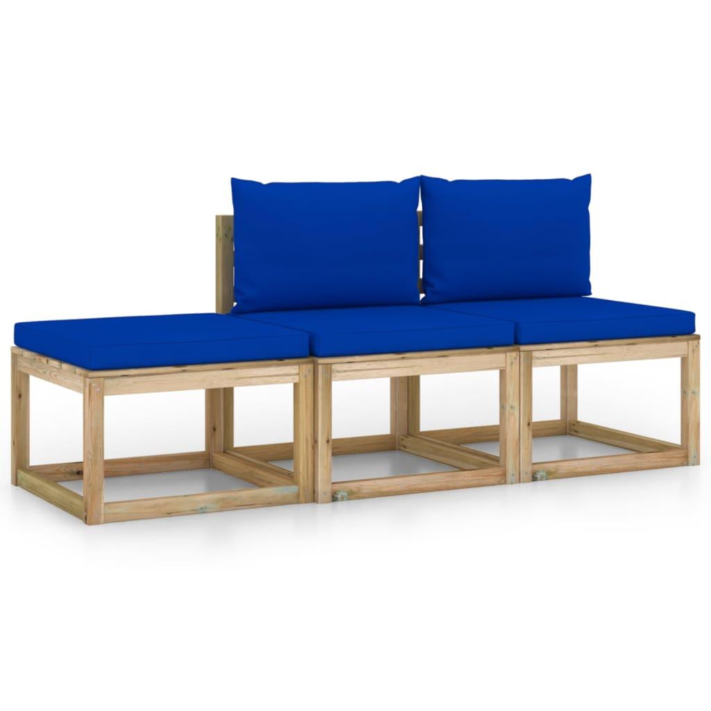 vidaXL 3-delige Loungeset met blauwe kussens