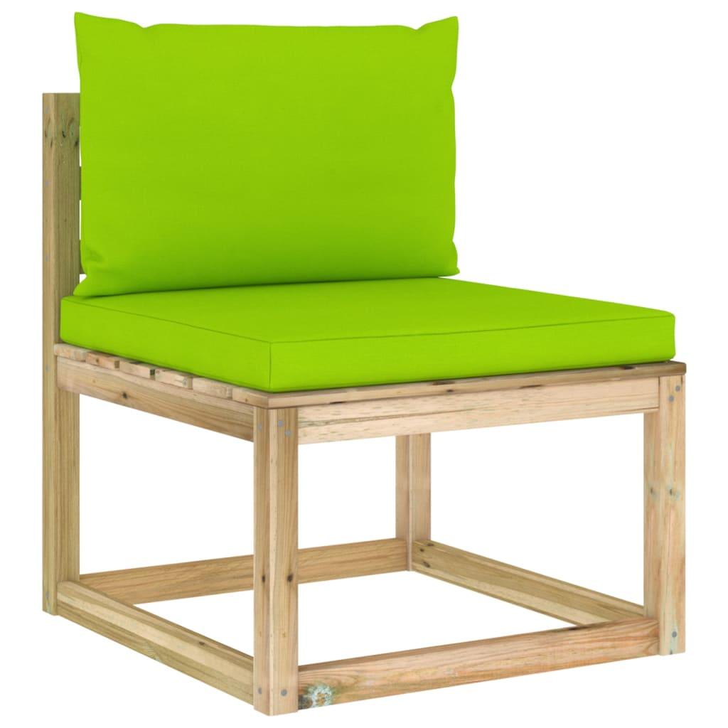 vidaXL Garten-Mittelsofa mit Kissen Grün Imprägniertes Kiefernholz