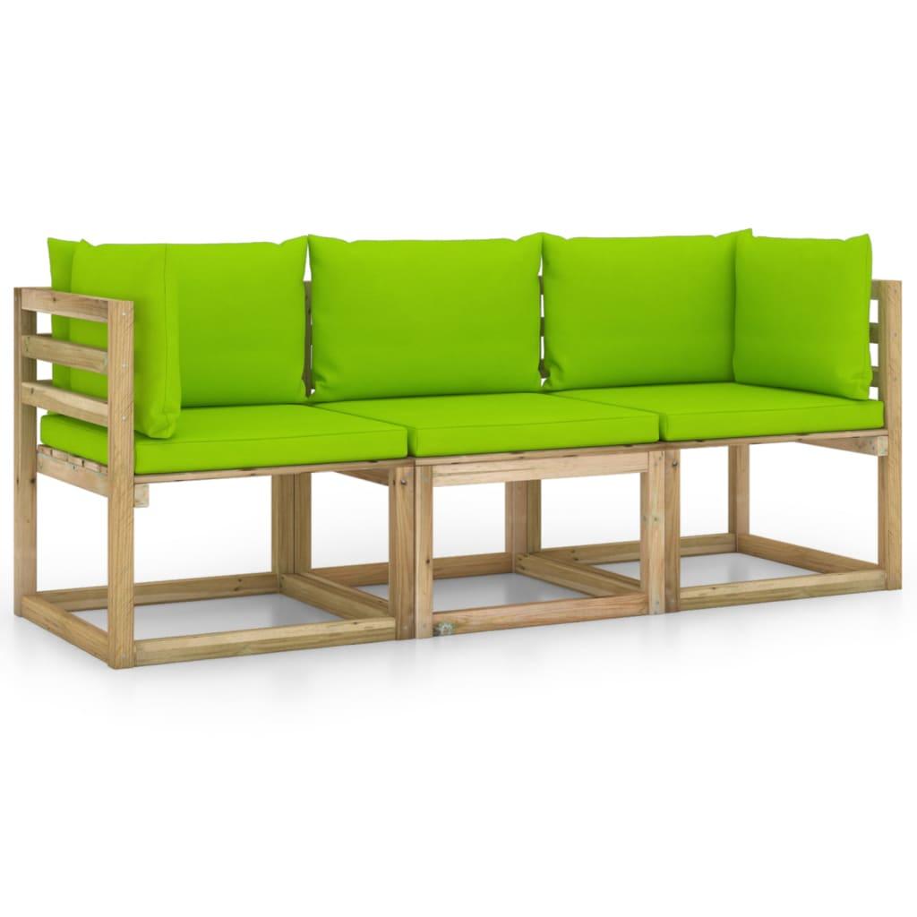 vidaXL 3-Sitzer-Gartensofa mit Hellgrünen Kissen
