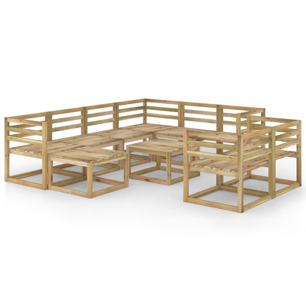 10-tlg. Garten-Lounge-Set Grün Imprägniertes Kiefernholz