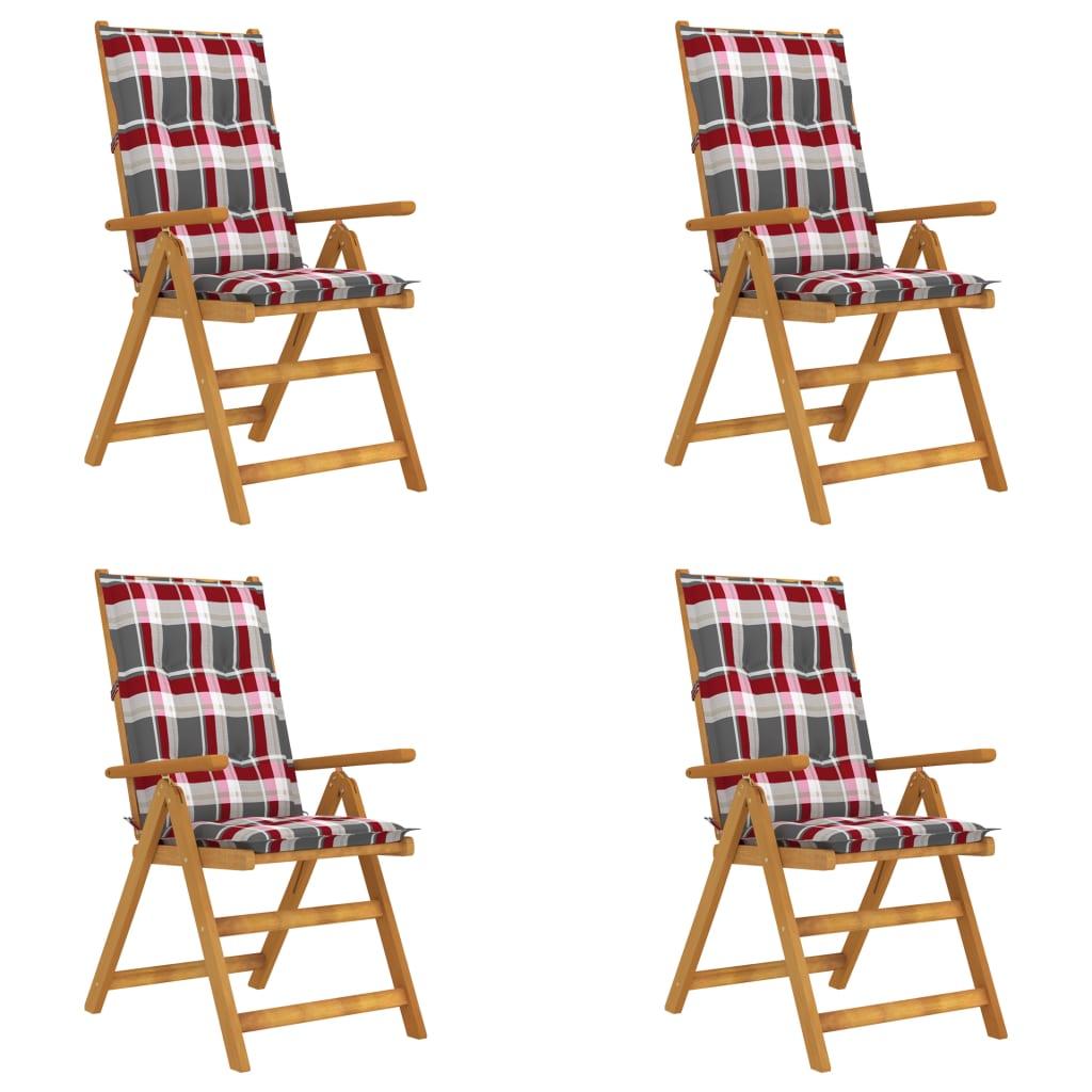 vidaXL Verstellbare Gartenstühle 4 Stk. mit Auflagen Massivholz Akazie