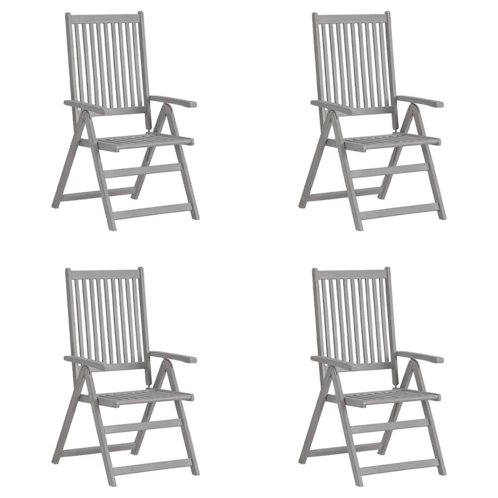 vidaXL lænestole til haven 4 stk. massivt akacietræ grå