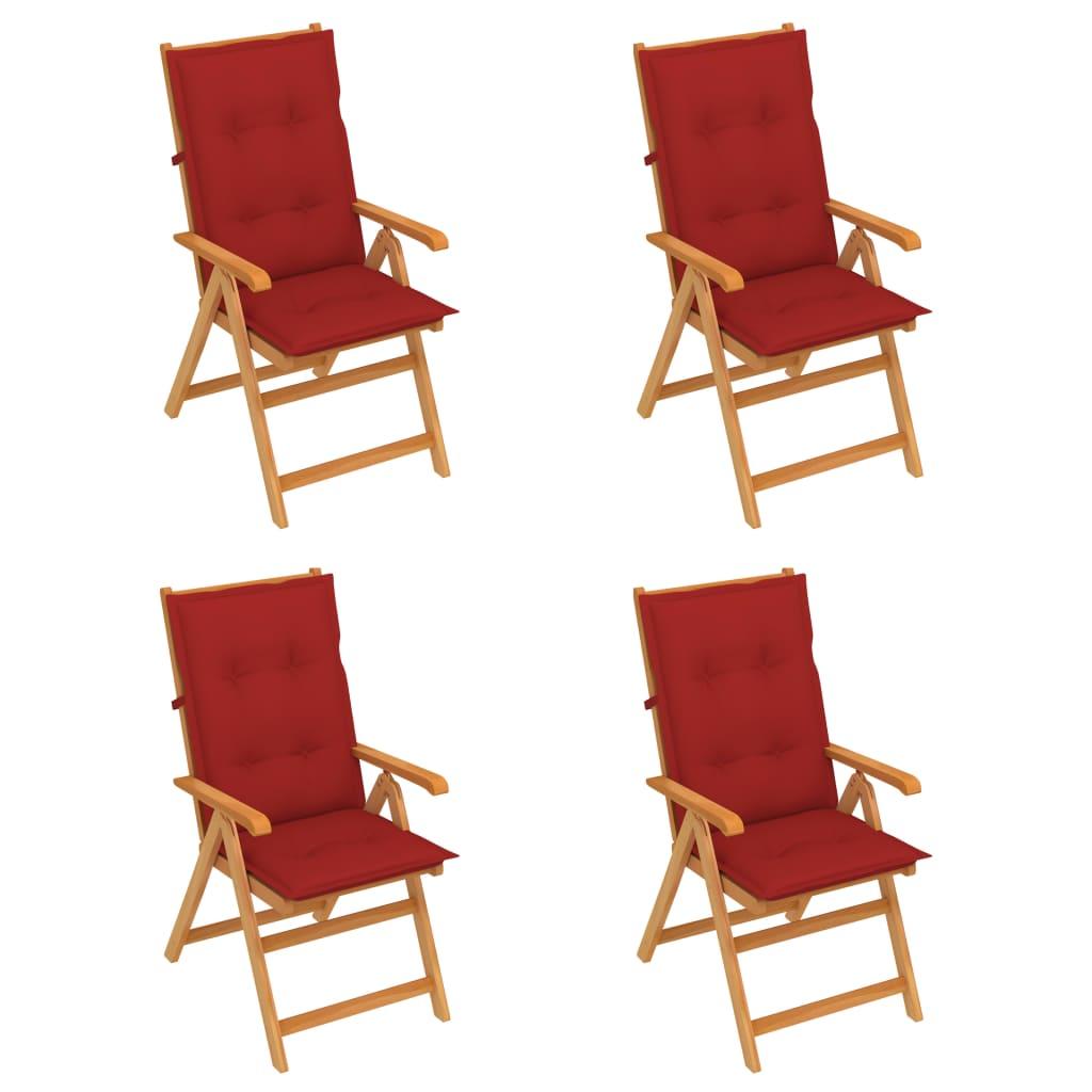 vidaXL Gartenstühle 4 Stk. mit Roten Kissen Massivholz Teak