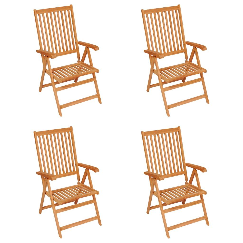 vidaXL Tuinstoelen 4 st met koningsblauwe kussens massief teakhout