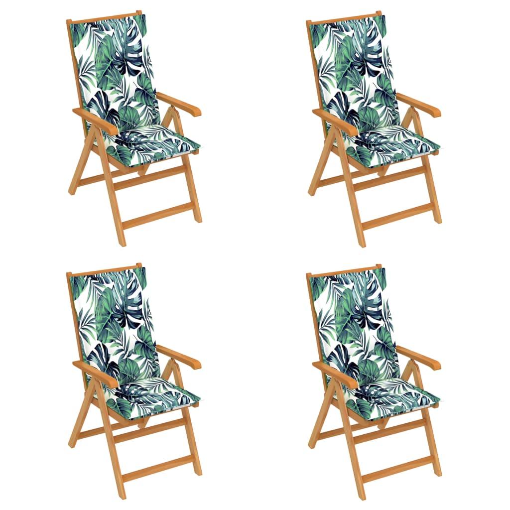 Gartenstühle 4 Stk. mit Blattmuster Kissen Massivholz Teak