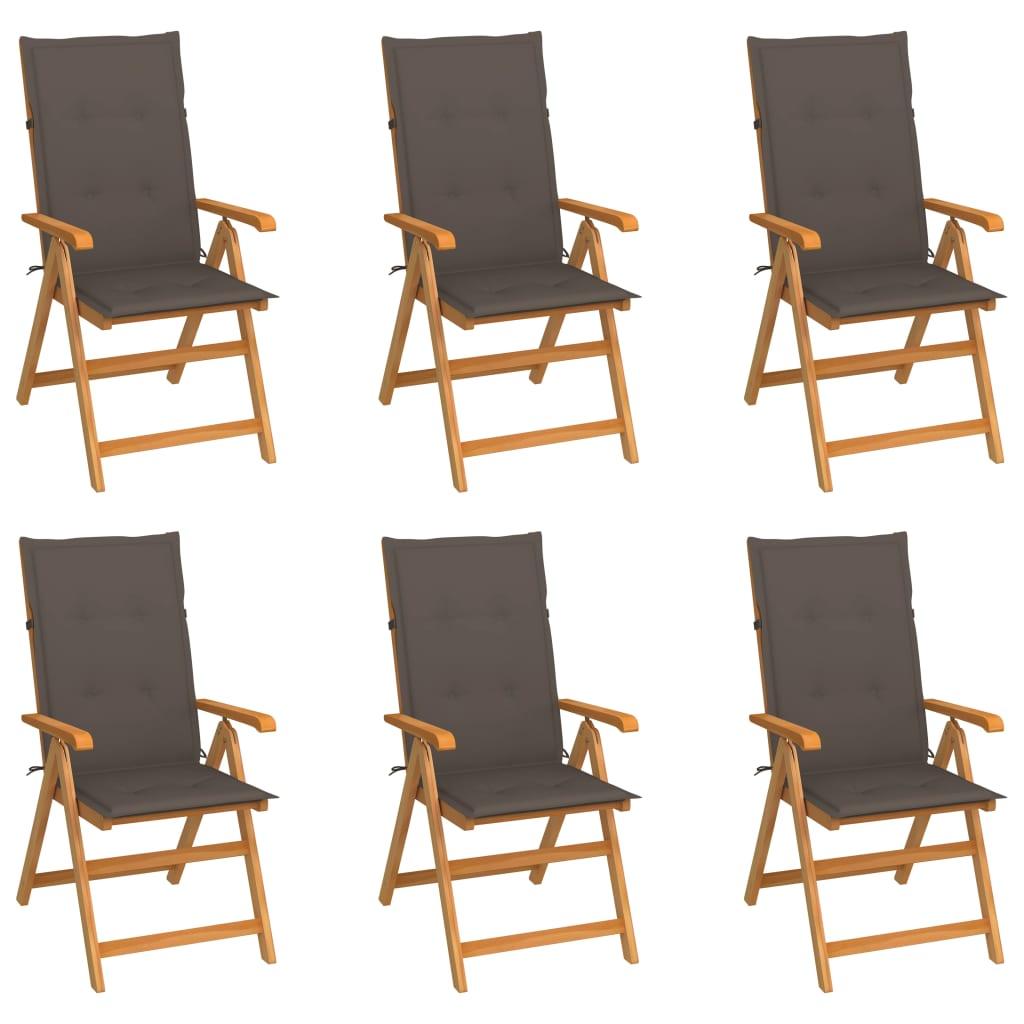 vidaXL Gartenstühle 6 Stk. mit Taupe Kissen Massivholz Teak