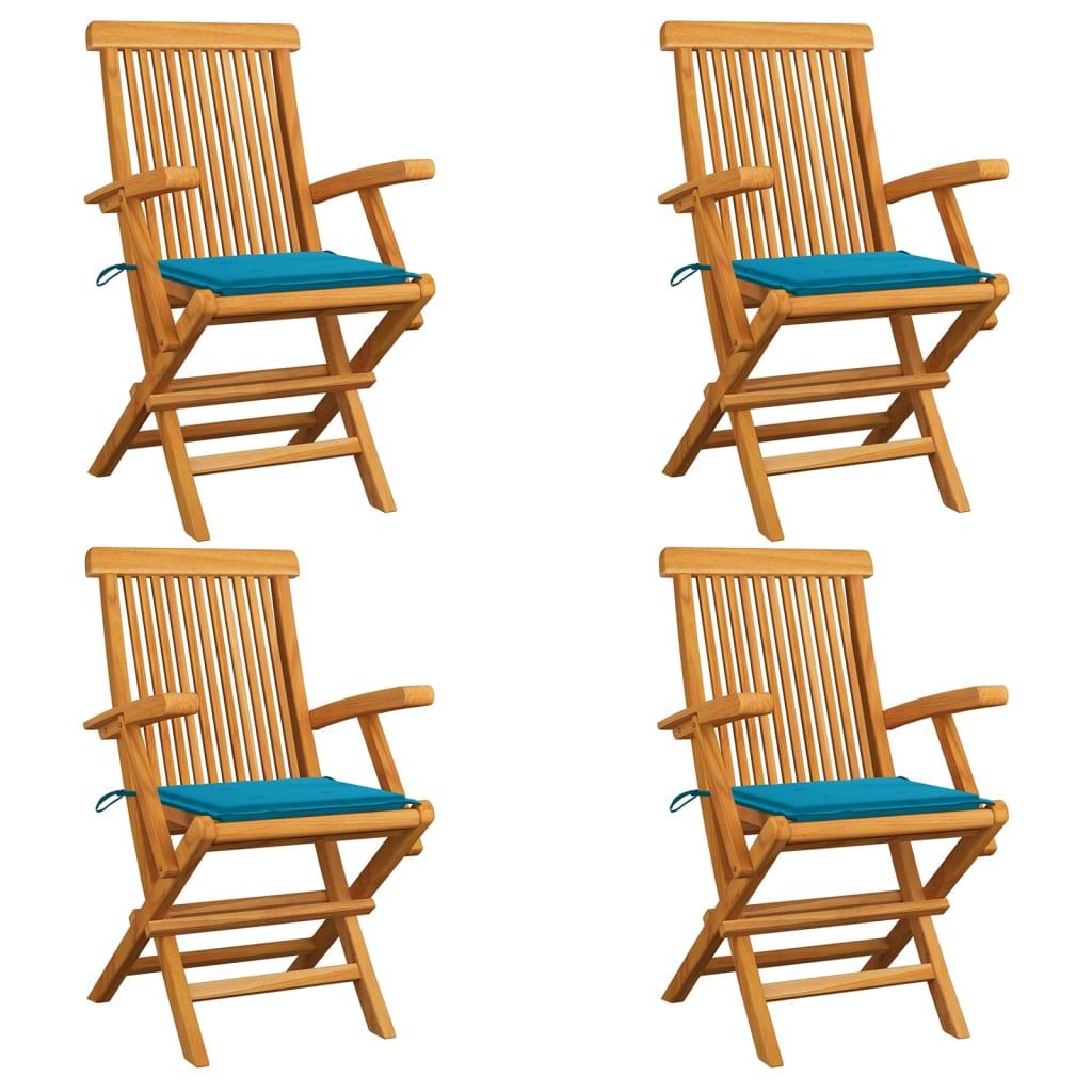 vidaXL Scaune de grădină cu perne albastre, 4 buc., lemn masiv de tec poza vidaxl.ro