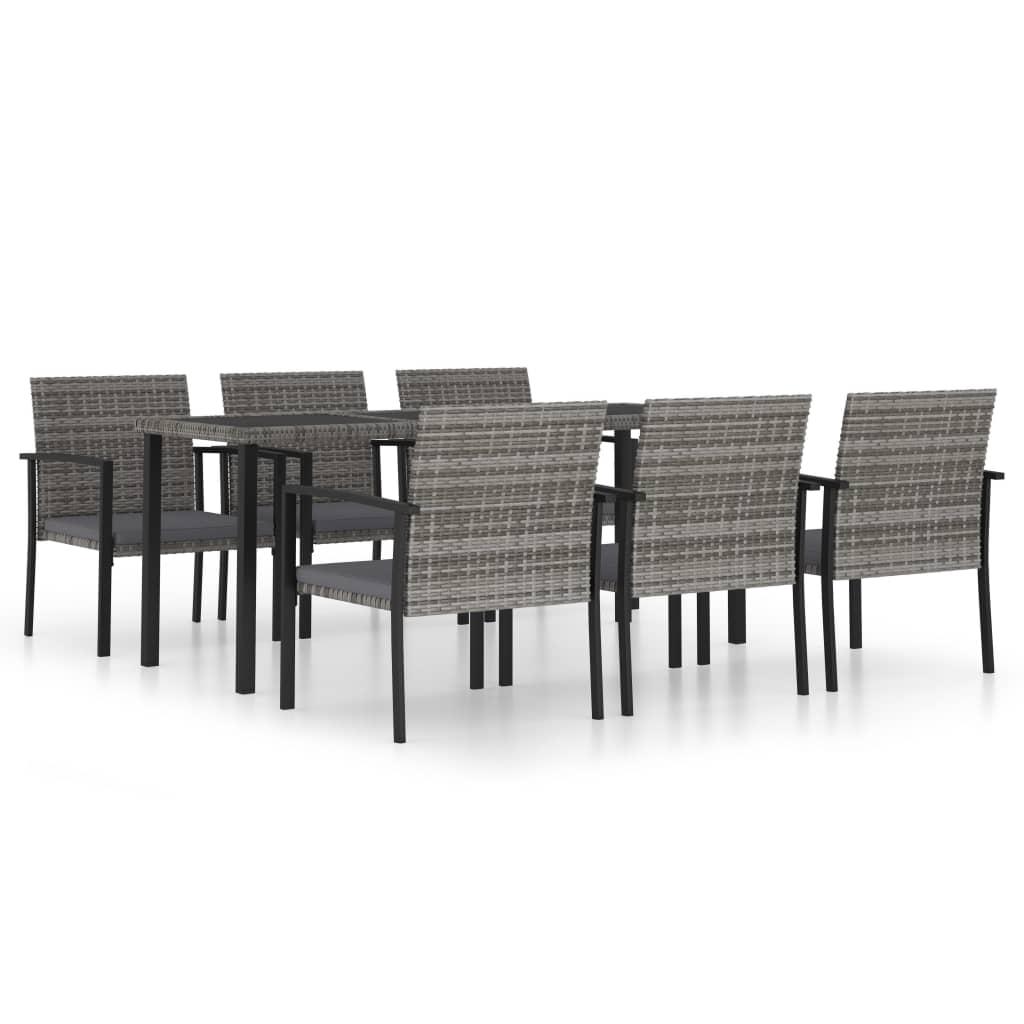 vidaXL Set mobilier de grădină, 7 piese, gri, poliratan imagine vidaxl.ro