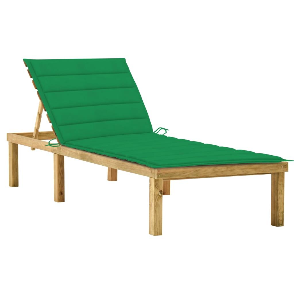 vidaXL Sonnenliege mit Grüner Auflage Imprägniertes Kiefernholz