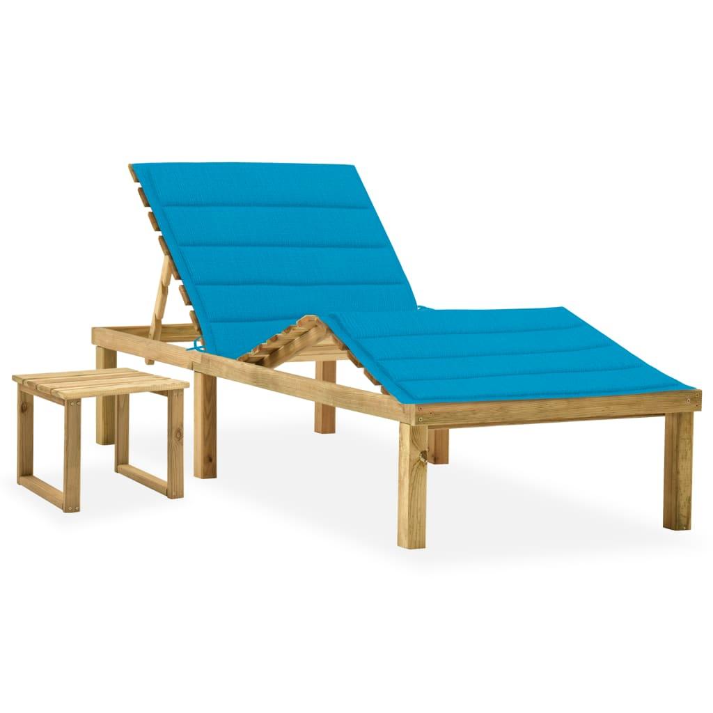vidaXL Garten-Sonnenliege mit Tisch und Auflage Kiefer Imprägniert