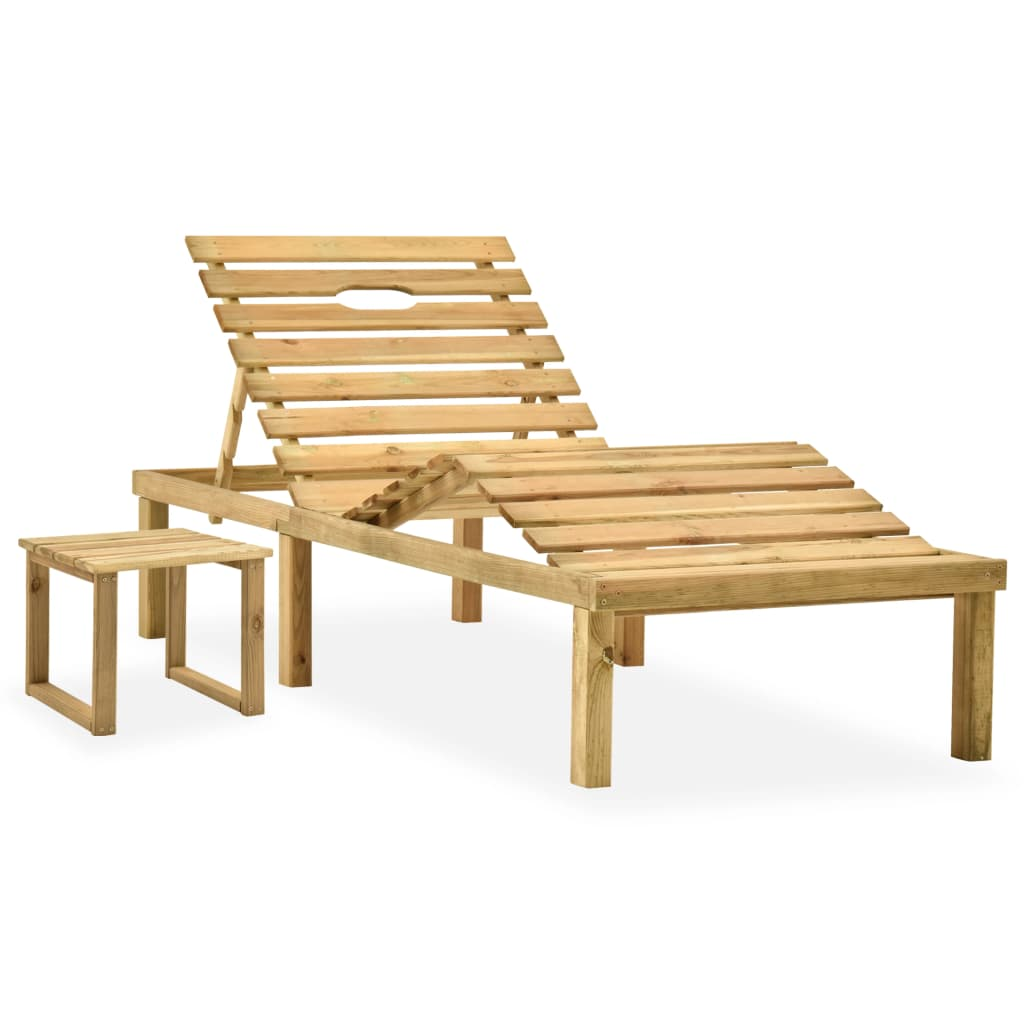 Ligbed met tafeltje en kussen geïmpregneerd grenenhout