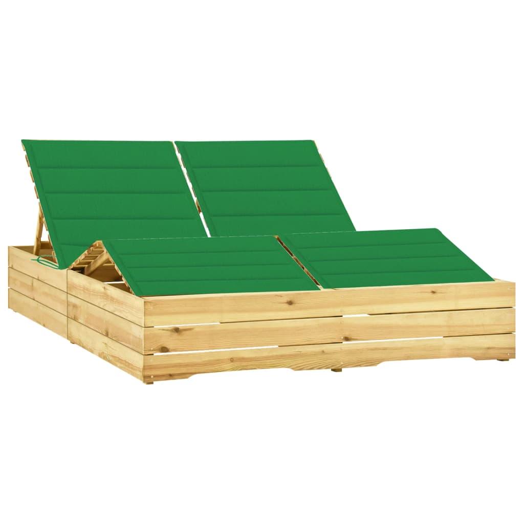 vidaXL Ligbed tweepersoons met groene kussens geïmpregneerd grenenhout