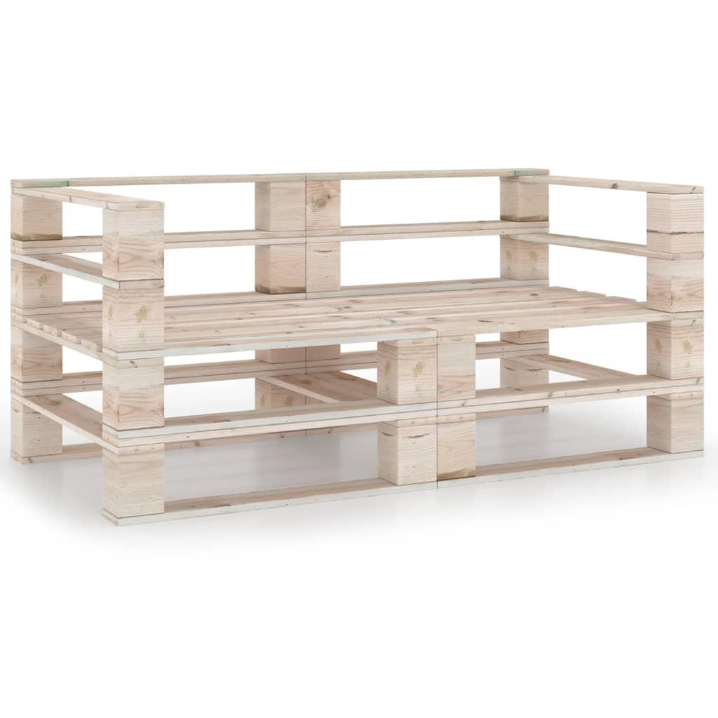 vidaXL Canapea de grădină din paleți, 2 locuri, lemn de pin vidaxl.ro