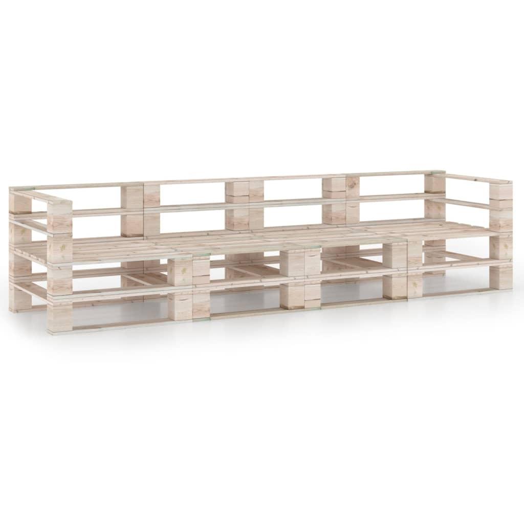 vidaXL Canapea de grădină din paleți, 4 locuri, lemn de pin imagine vidaxl.ro