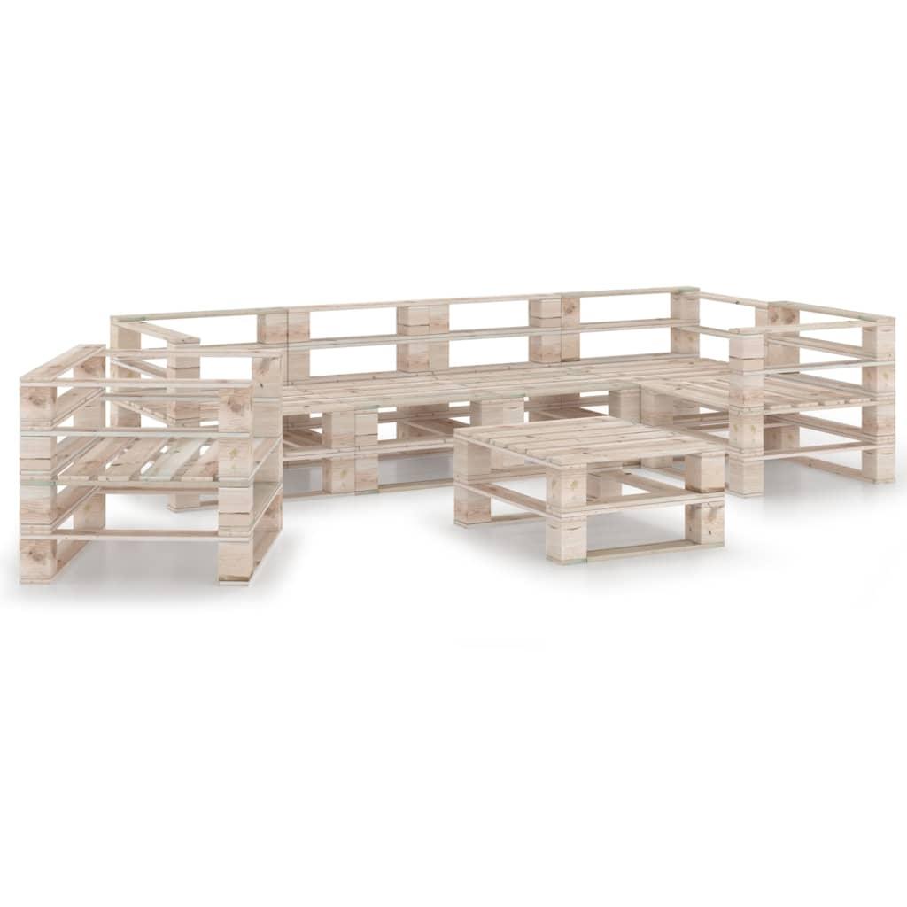 vidaXL 7-delige Loungeset pallet grenenhout