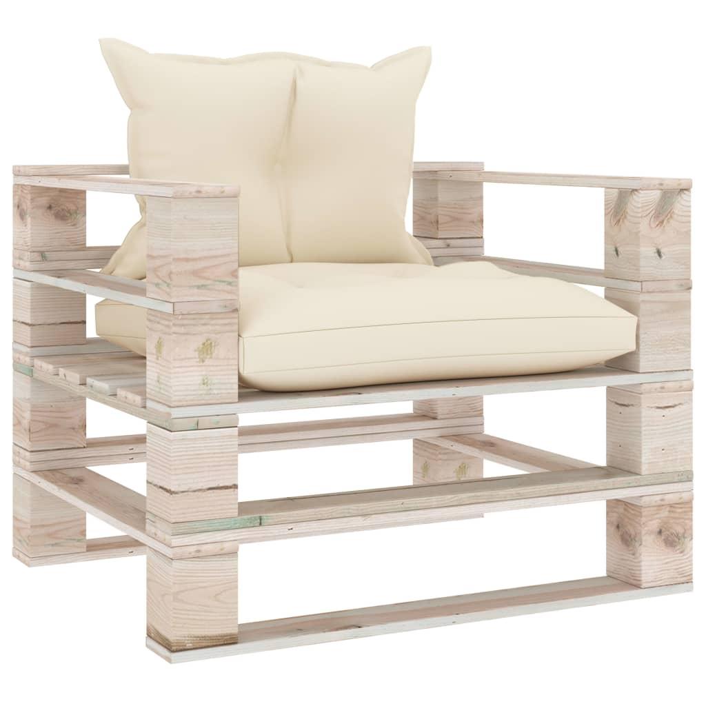 vidaXL Canapea de grădină din paleți, cu perne crem, lemn de pin poza vidaxl.ro