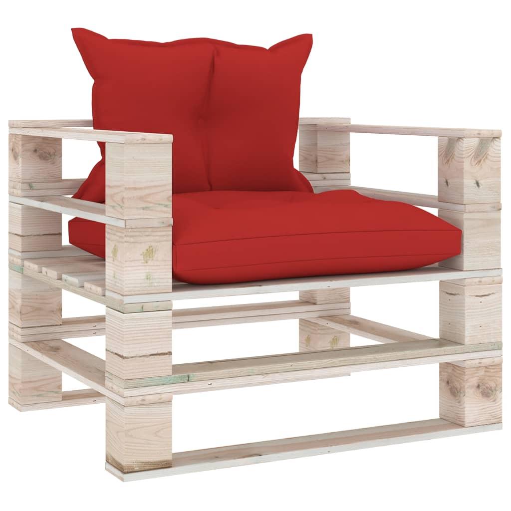 vidaXL Canapea de grădină din paleți cu perne roșii, lemn de pin poza 2021 vidaXL