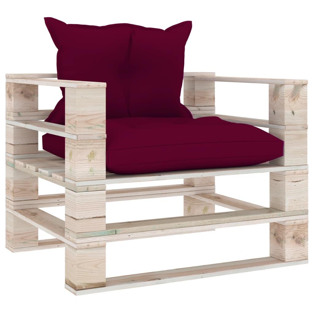 vidaXL Canapea de grădină din paleți cu perne roșu vin, lemn de pin poza 2021 vidaXL