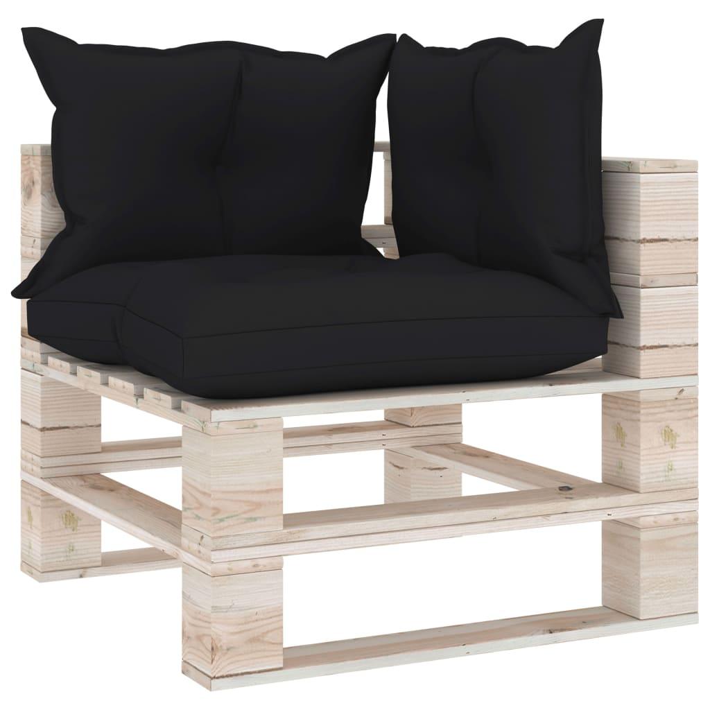 vidaXL Canapea de grădină din paleți, colțar, cu perne, lemn de pin poza vidaxl.ro