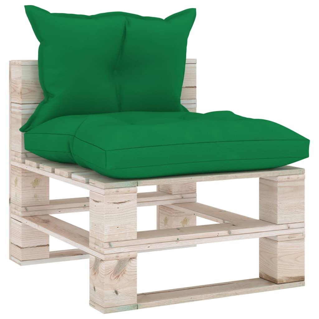 vidaXL Canapea de grădină din paleți, de mijloc, cu perne, lemn pin poza vidaxl.ro