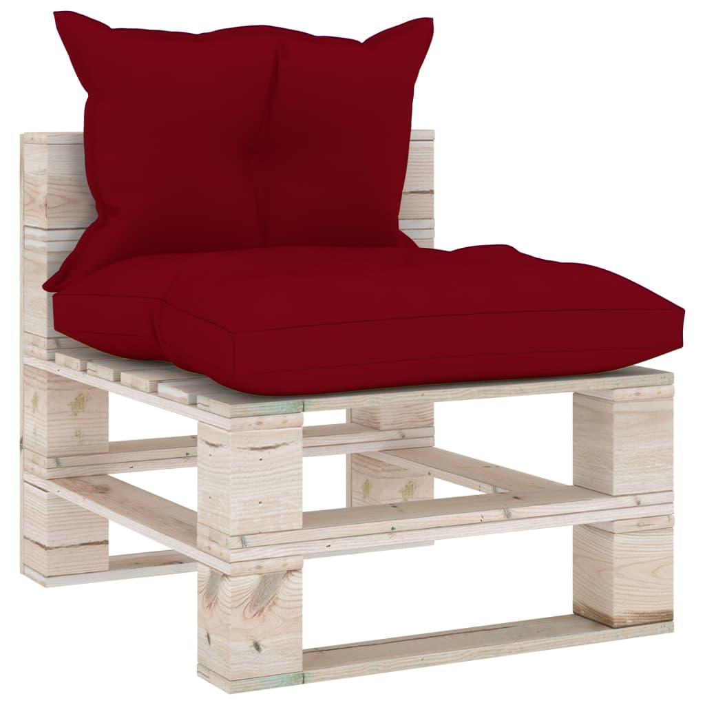 vidaXL Canapea de grădină din paleți, de mijloc, cu perne, lemn pin vidaxl.ro