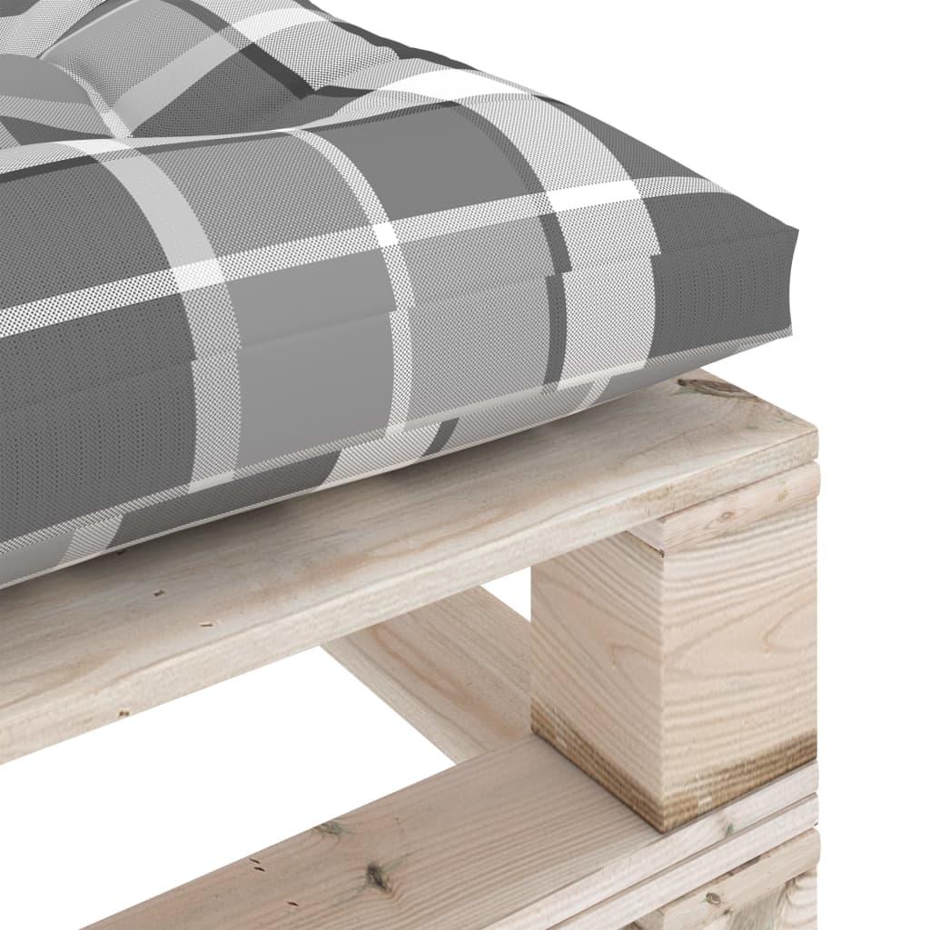 vidaXL Tuinpoef met grijs geruit kussen pallet grenenhout