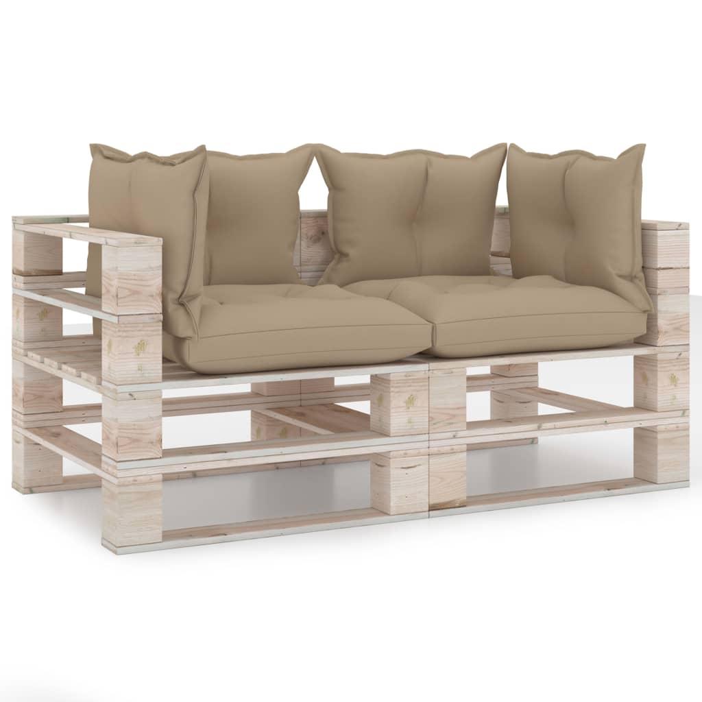 vidaXL Canapea de grădină din paleți, 2 locuri, cu perne, lemn de pin poza 2021 vidaXL