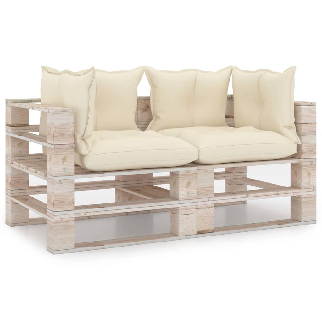 vidaXL Canapea de grădină din paleți, 2 locuri, cu perne, lemn de pin imagine vidaxl.ro