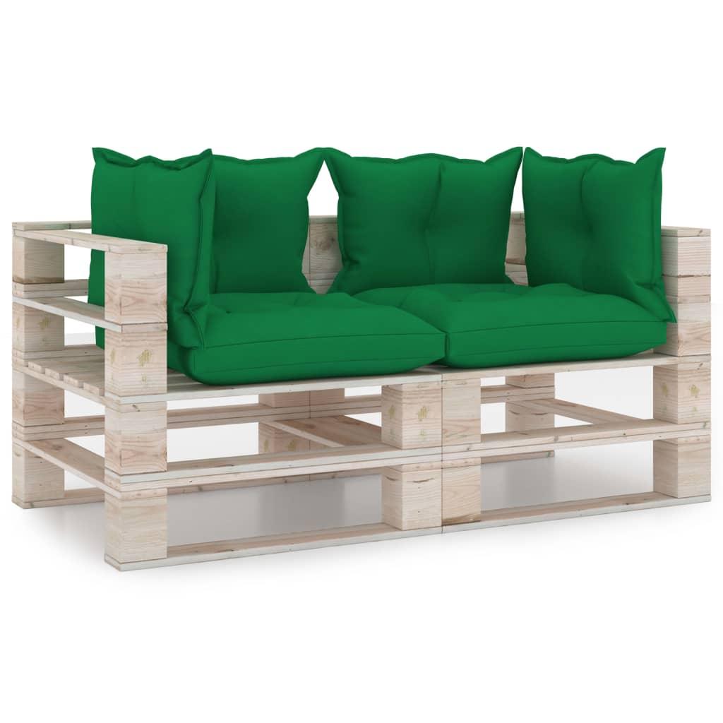 vidaXL Canapea de grădină din paleți, 2 locuri, cu perne, lemn de pin vidaxl.ro