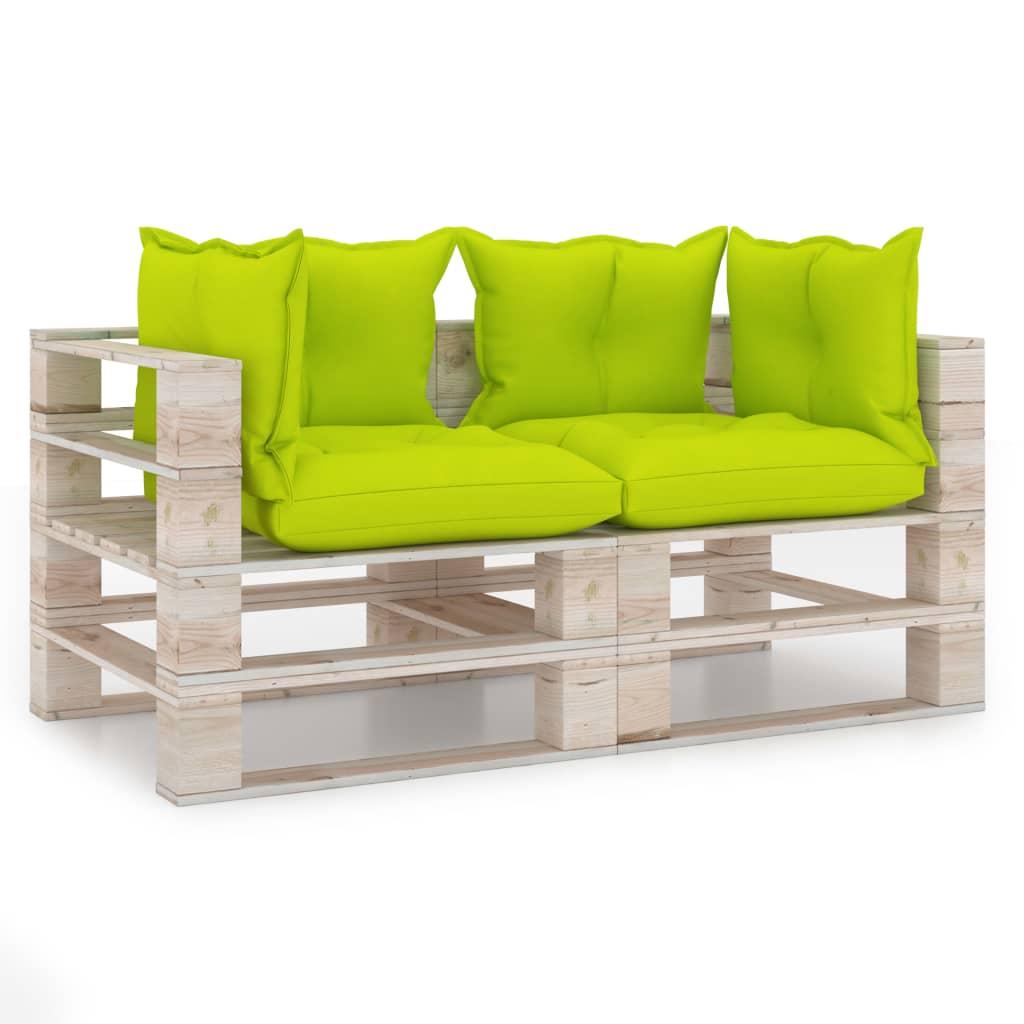 vidaXL Canapea de grădină din paleți, 2 locuri, cu perne, lemn de pin poza vidaxl.ro