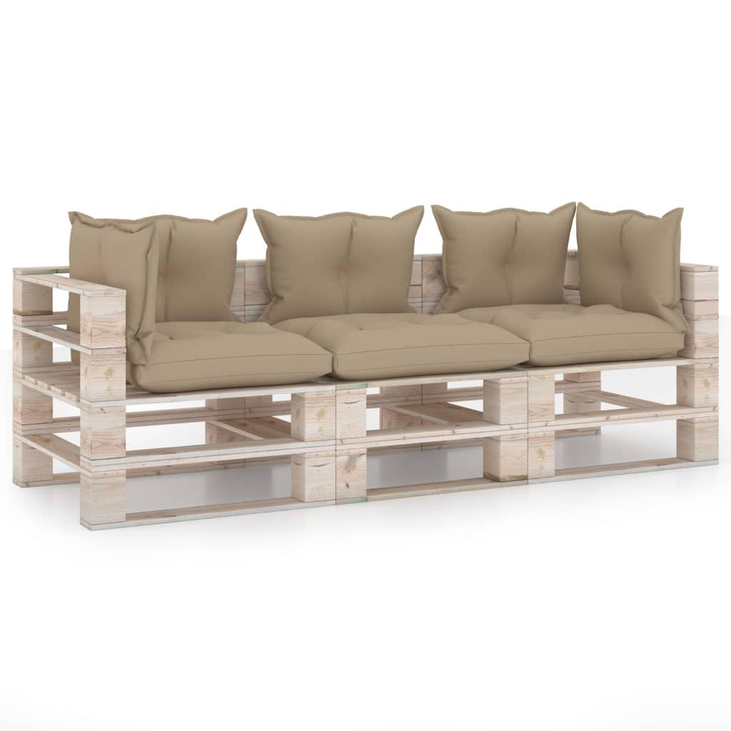 vidaXL Canapea de grădină din paleți, 3 locuri, cu perne, lemn de pin poza vidaxl.ro