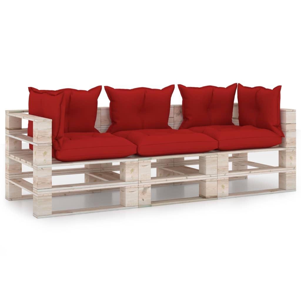 vidaXL Canapea de grădină din paleți, 3 locuri, cu perne, lemn de pin imagine vidaxl.ro