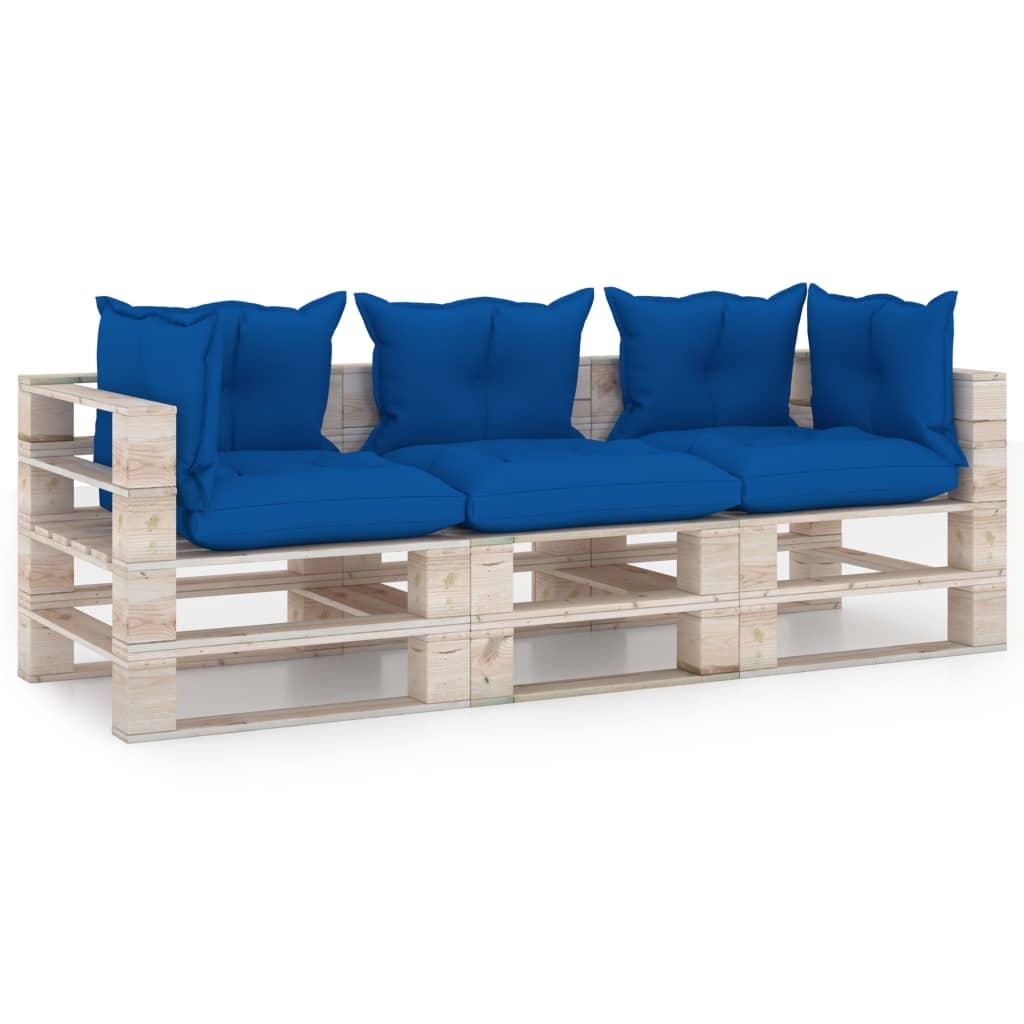 vidaXL Canapea de grădină din paleți, 3 locuri, cu perne, lemn de pin vidaxl.ro