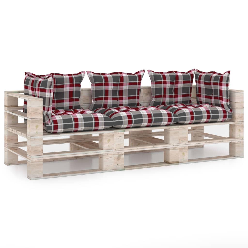 vidaXL Canapea de grădină din paleți, 3 locuri, cu perne, lemn de pin poza 2021 vidaXL