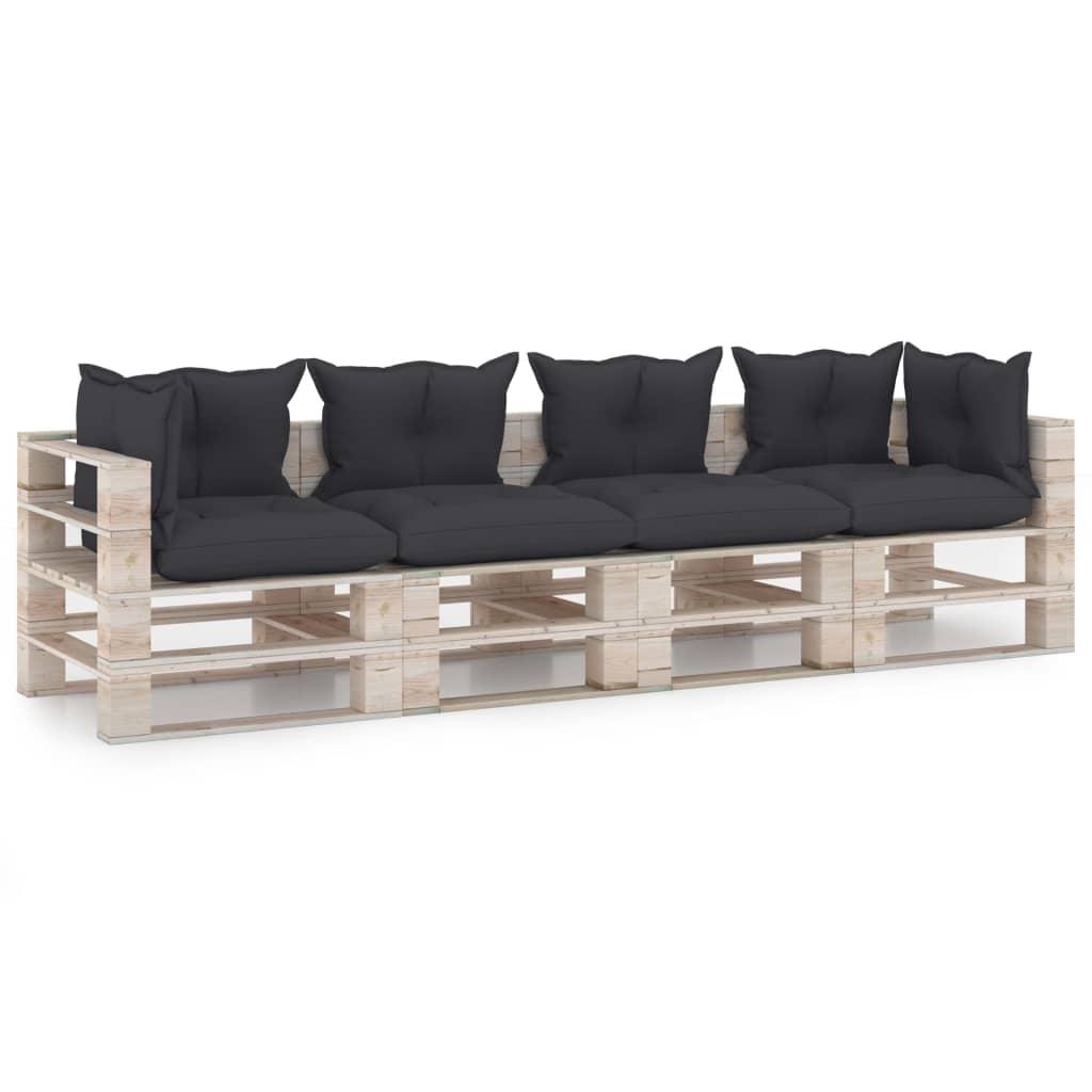 vidaXL Canapea paleți de grădină cu 4 locuri, cu perne, lemn de pin imagine vidaxl.ro