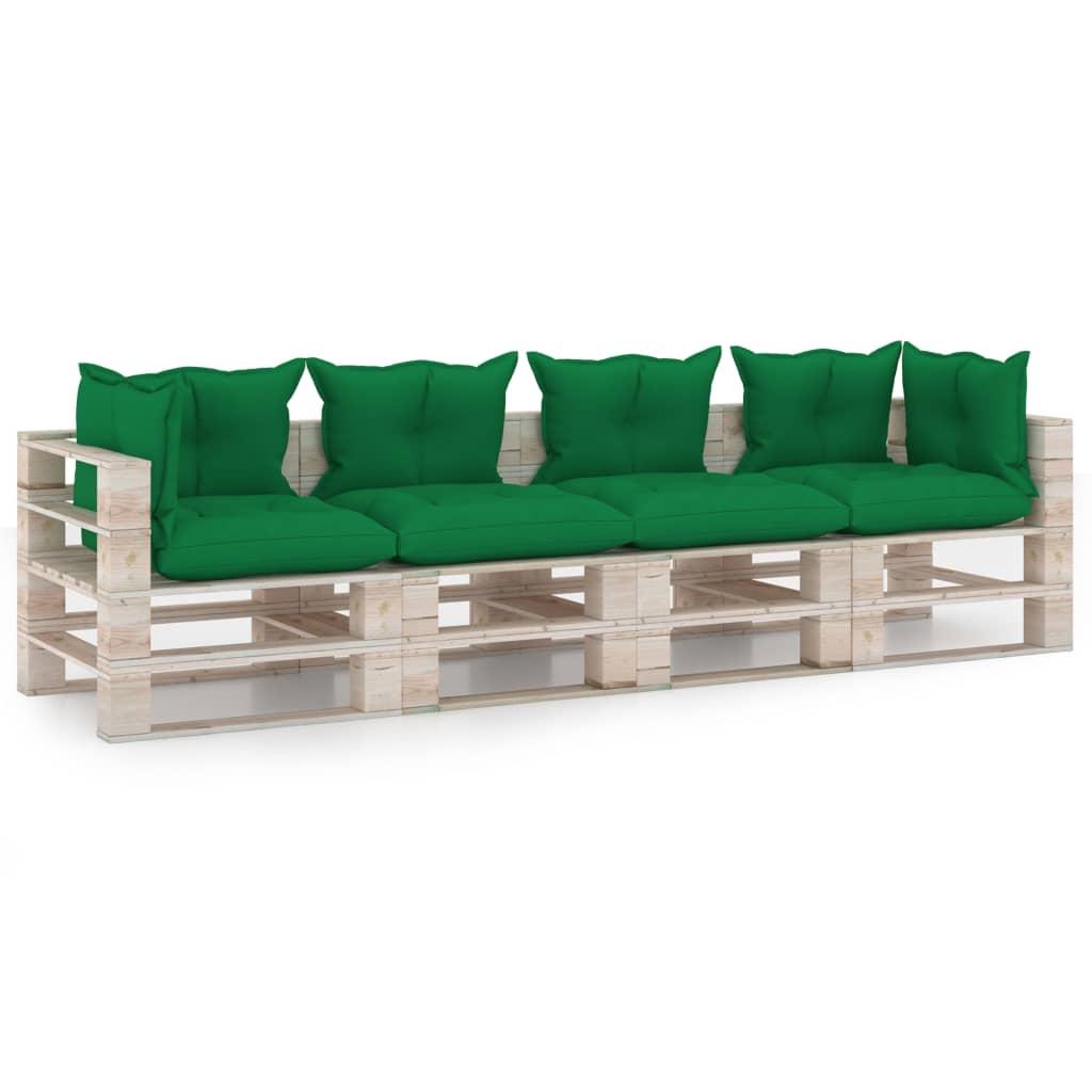 vidaXL Canapea de grădină din paleți, 4 locuri, cu perne, lemn de pin poza vidaxl.ro