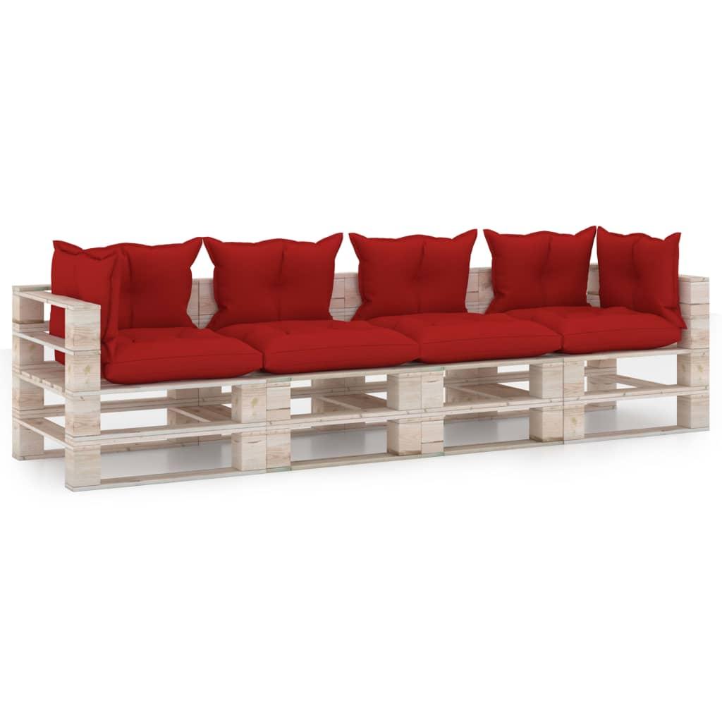 vidaXL Canapea de grădină din paleți, 4 locuri, cu perne, lemn de pin imagine vidaxl.ro