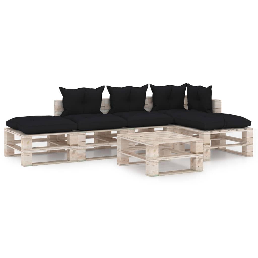 vidaXL Set mobilier grădină din paleți cu perne, 6 piese, lemn de pin poza vidaxl.ro