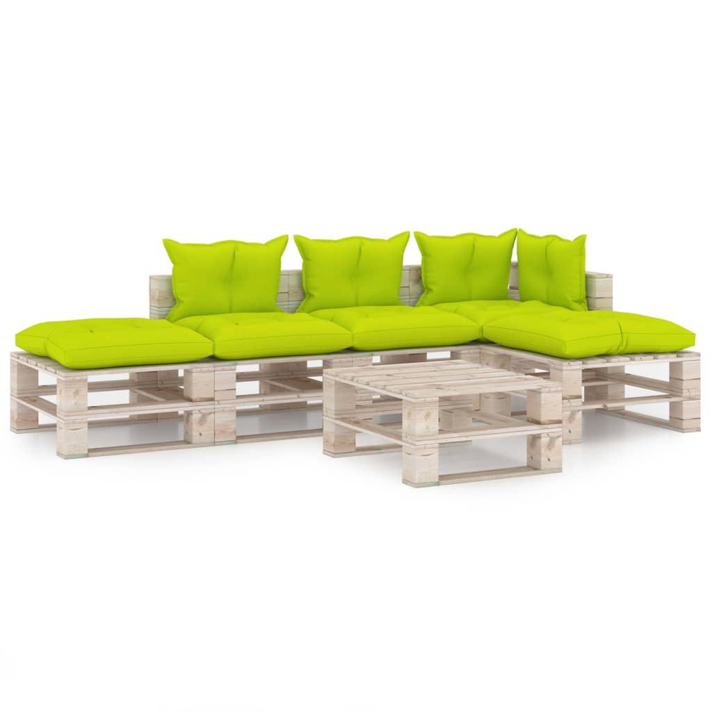 vidaXL Set mobilier grădină din paleți cu perne, 6 piese, lemn de pin imagine vidaxl.ro
