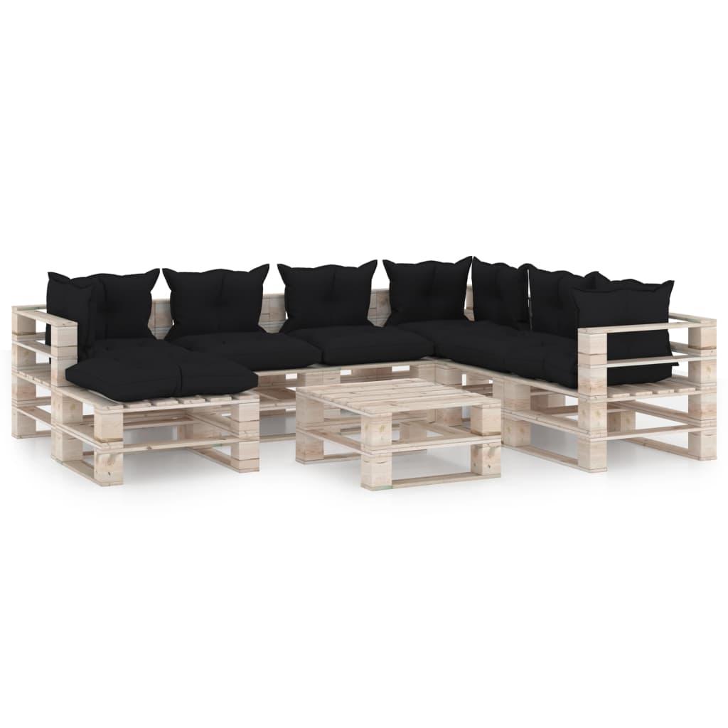 vidaXL Set mobilier grădină din paleți, 8 piese, cu perne, lemn de pin poza 2021 vidaXL