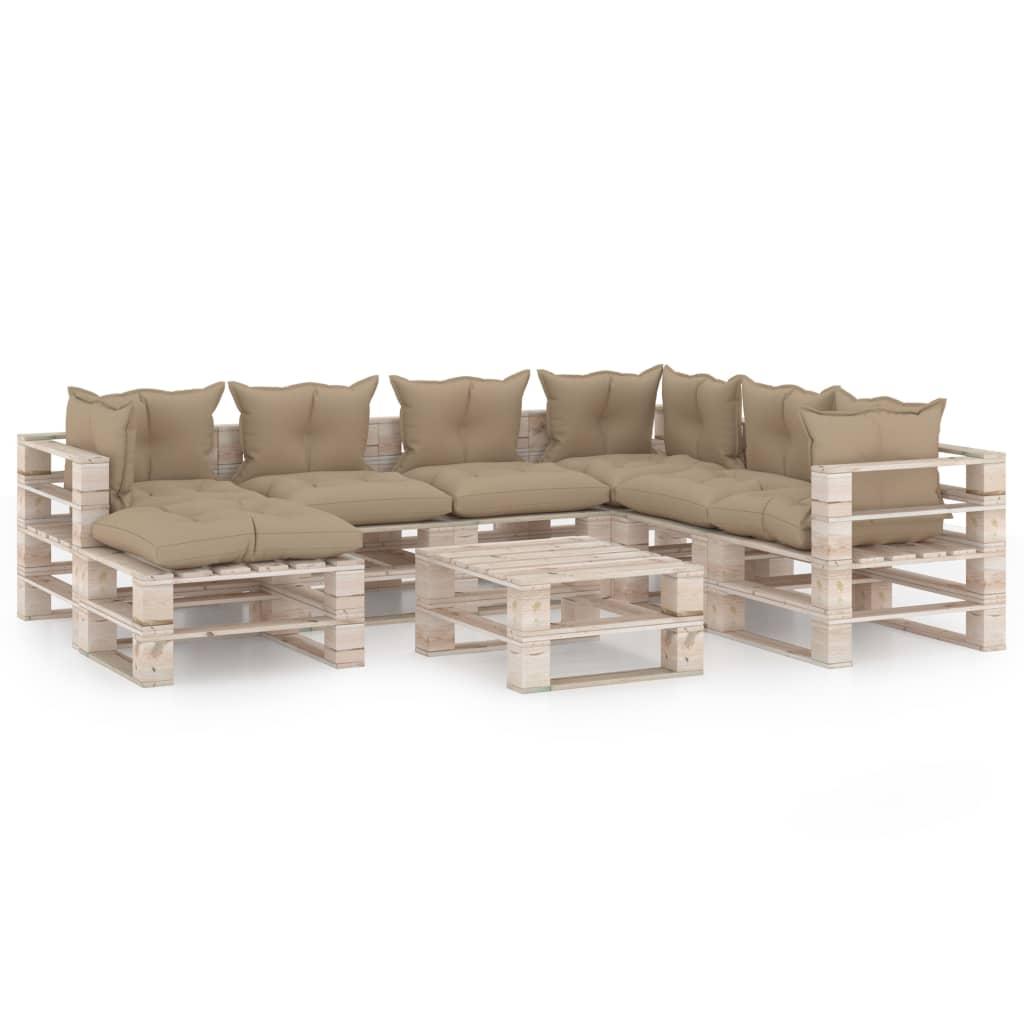vidaXL Set mobilier grădină din paleți cu perne, 8 piese, lemn de pin imagine vidaxl.ro