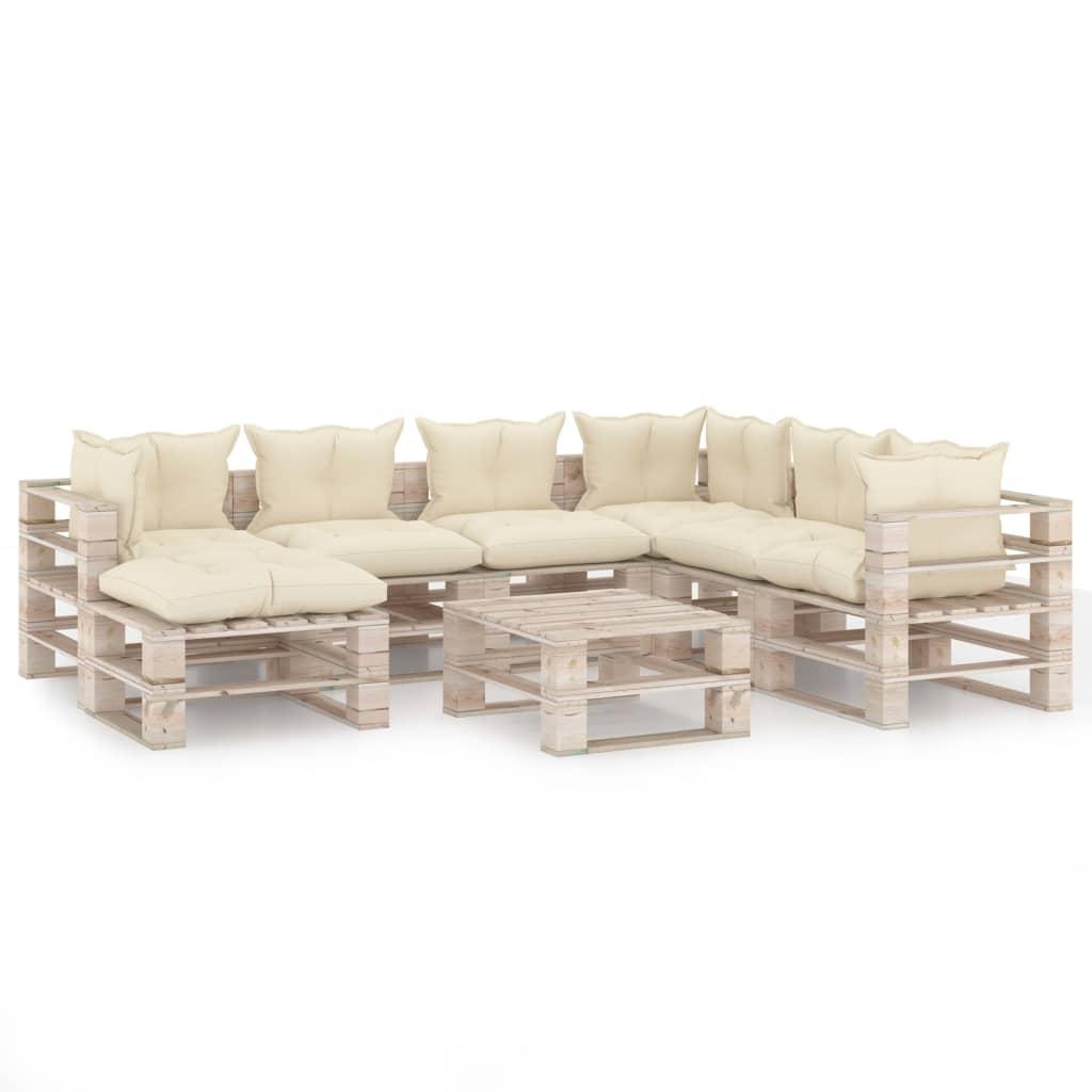 8-delige Loungeset met kussens pallet grenenhout