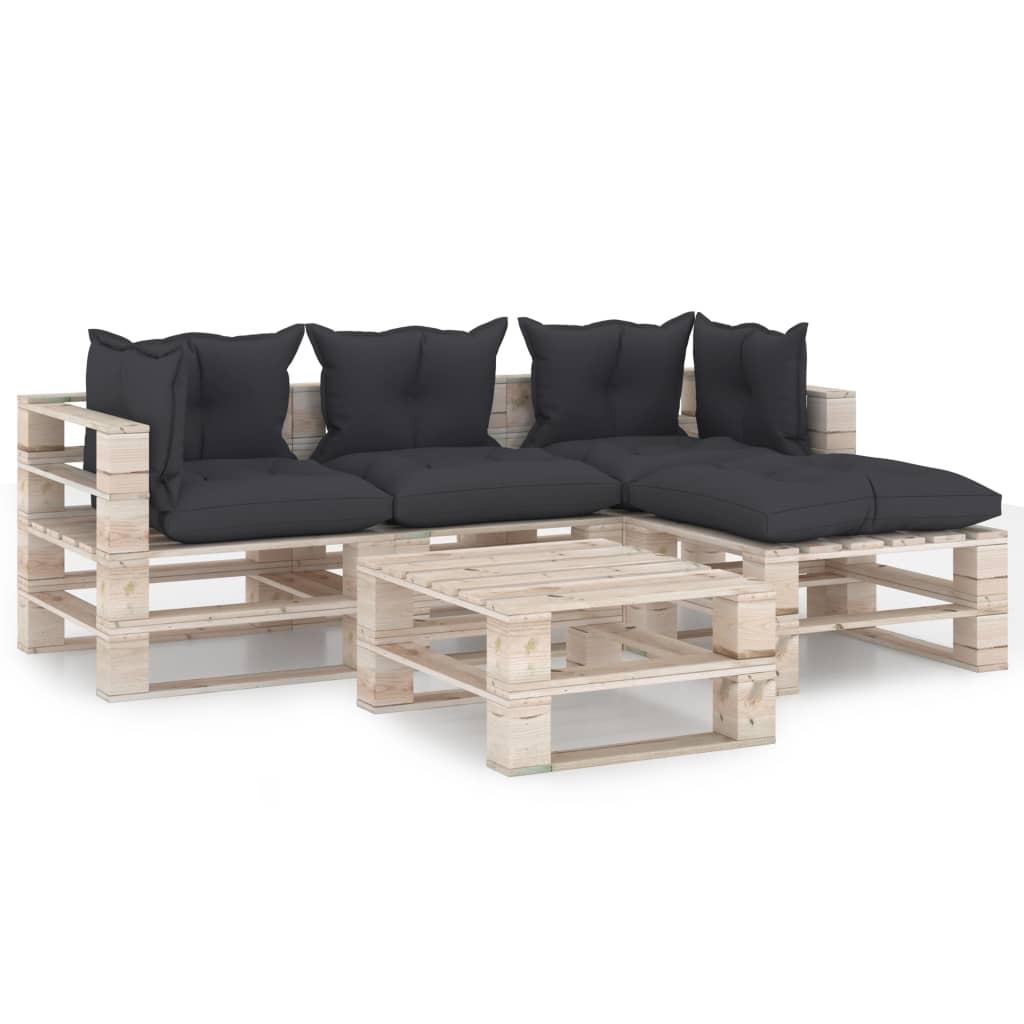 vidaXL Set mobilier grădină din paleți, 5 piese, cu perne, lemn de pin vidaxl.ro