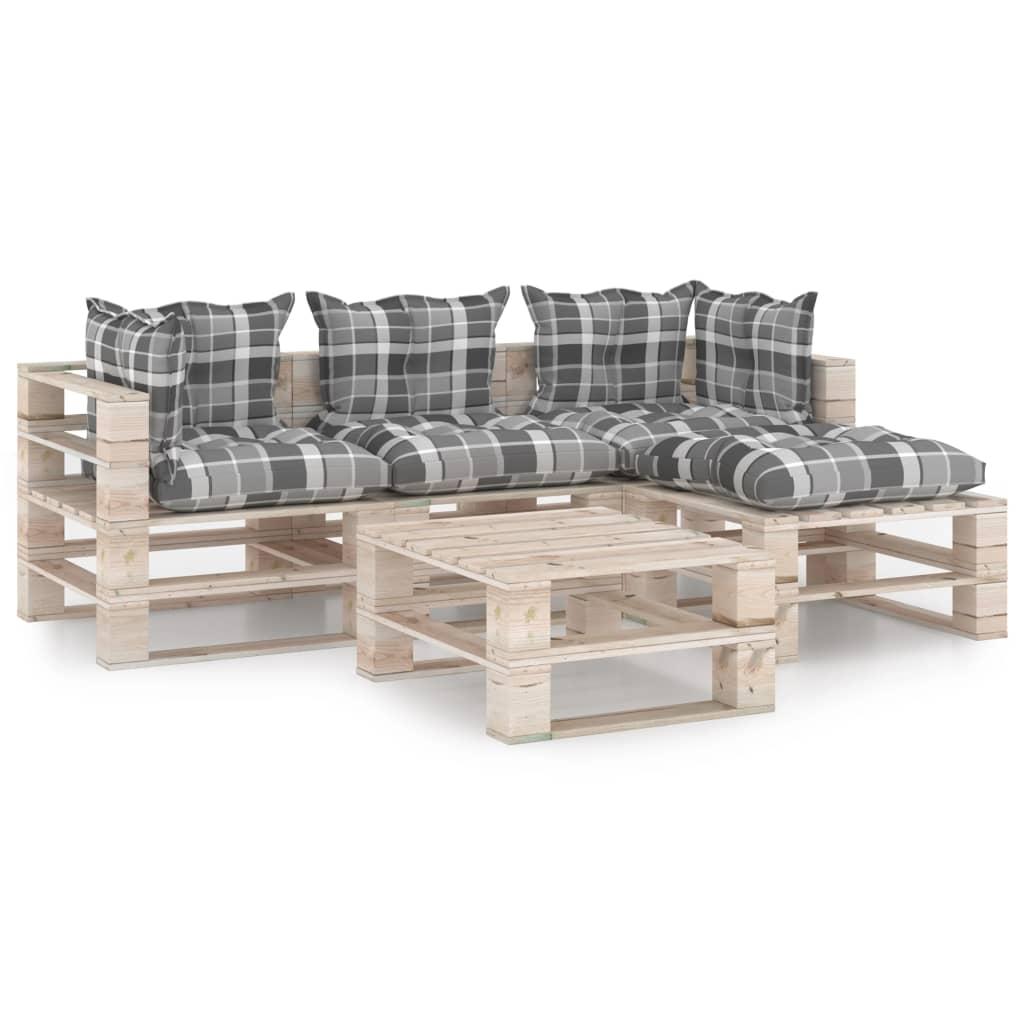 vidaXL Set mobilier grădină din paleți, 5 piese, cu perne, lemn de pin poza 2021 vidaXL